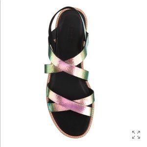 J. Crew Mackenzie Crackle Foil Sandals